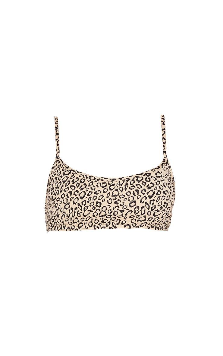 Stone Leopard Texture Scoop Neck Bikini Top 5