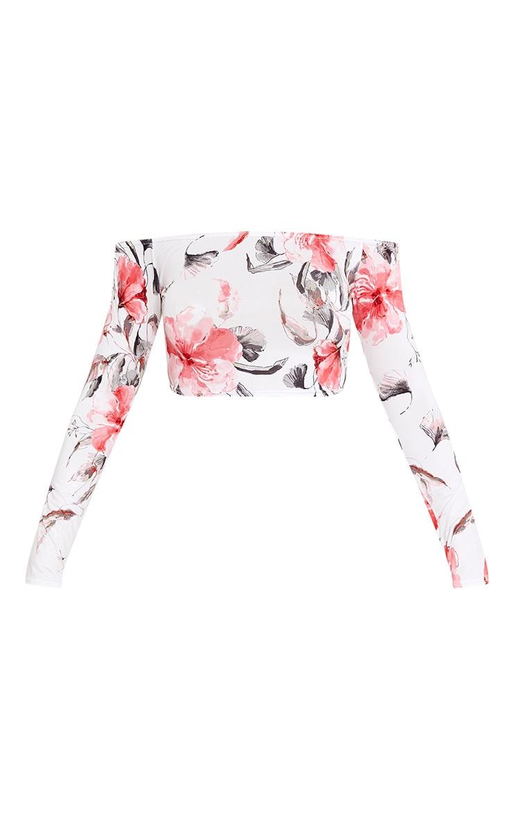 Alivia Pink Floral Slinky Bardot Longsleeve Crop Top  3
