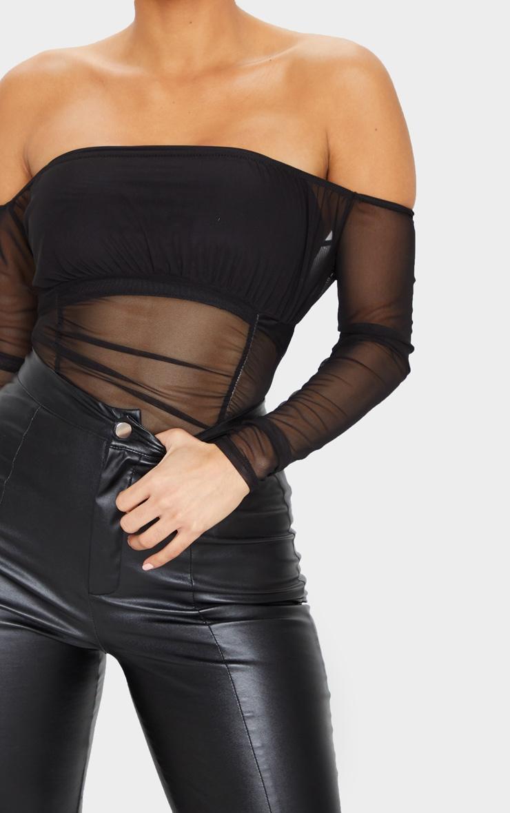 Black Sheer Gathered Bardot Bodysuit 3