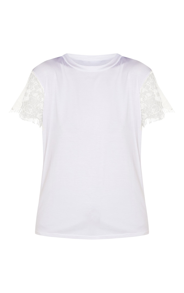 Rain White Eyelash Lace Sleeve Oversized T Shirt 3