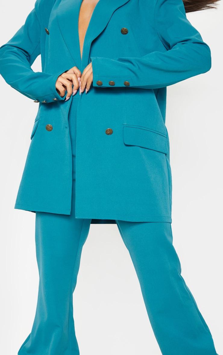 Blazer oversize long tissé à boutons bleu sarcelle 6