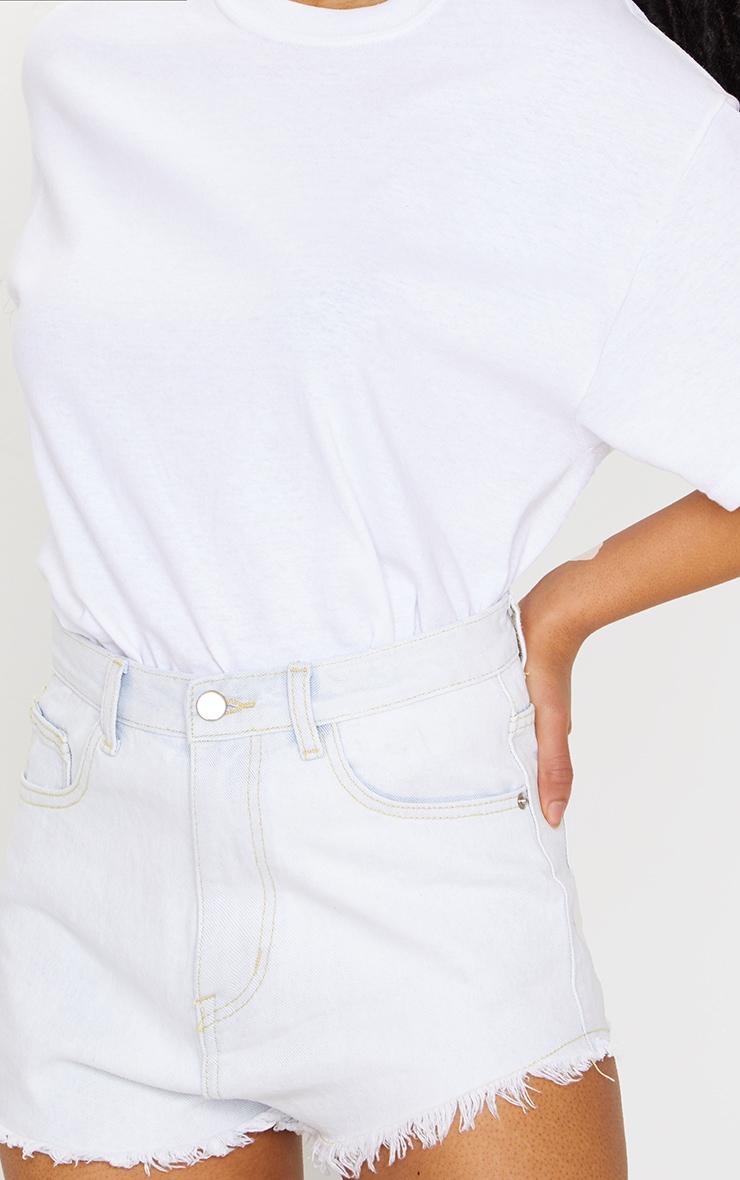 PRETTYLITTLETHING Bleach Wash Frayed Hem Denim Shorts 5