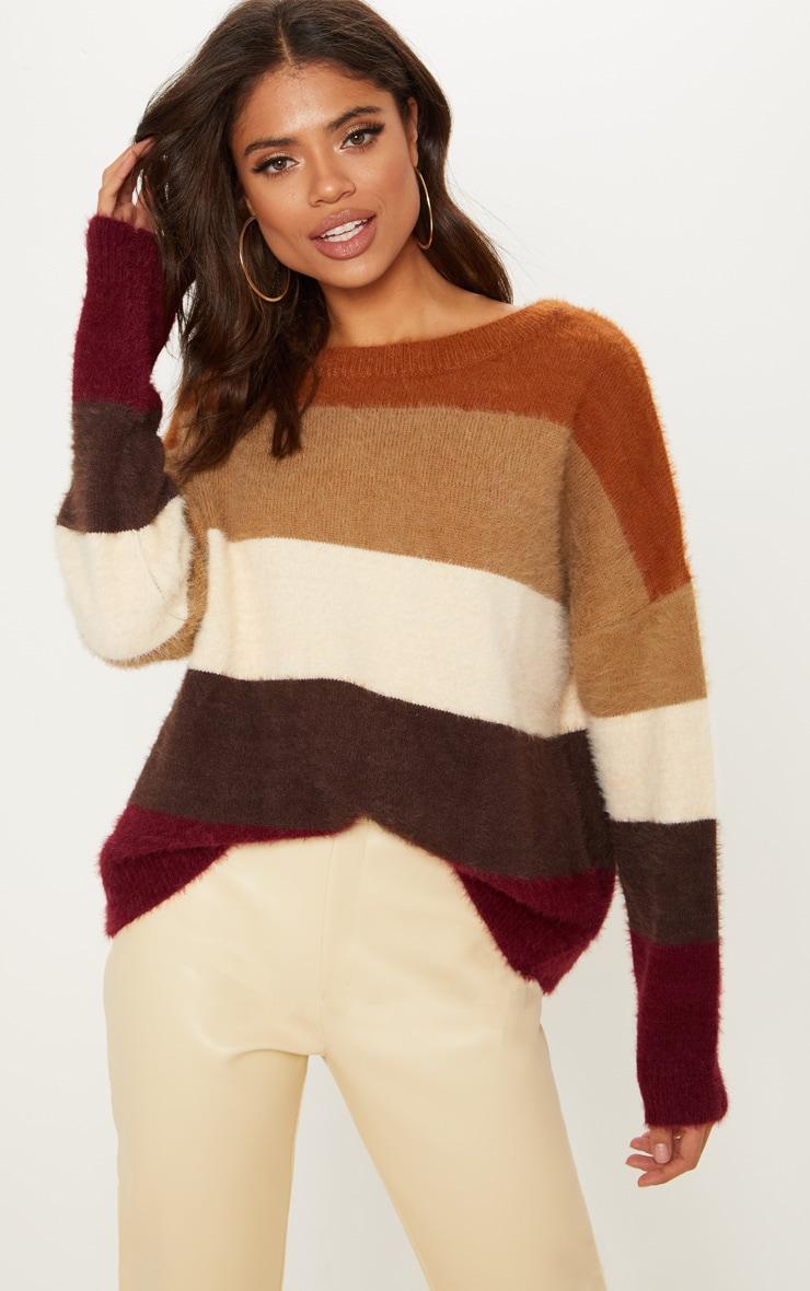 Stone Stripe Eyelash Knitted Jumper