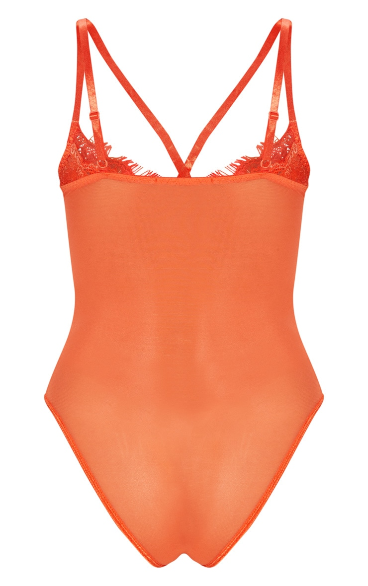 Burnt Orange Cross Front Mixed Lace Body 8