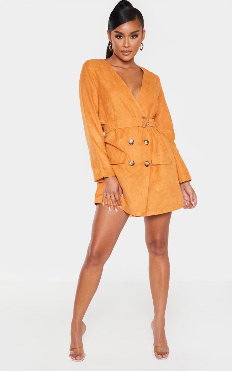 Tan Faux Suede Tortoise Button Buckle Blazer Dress 5