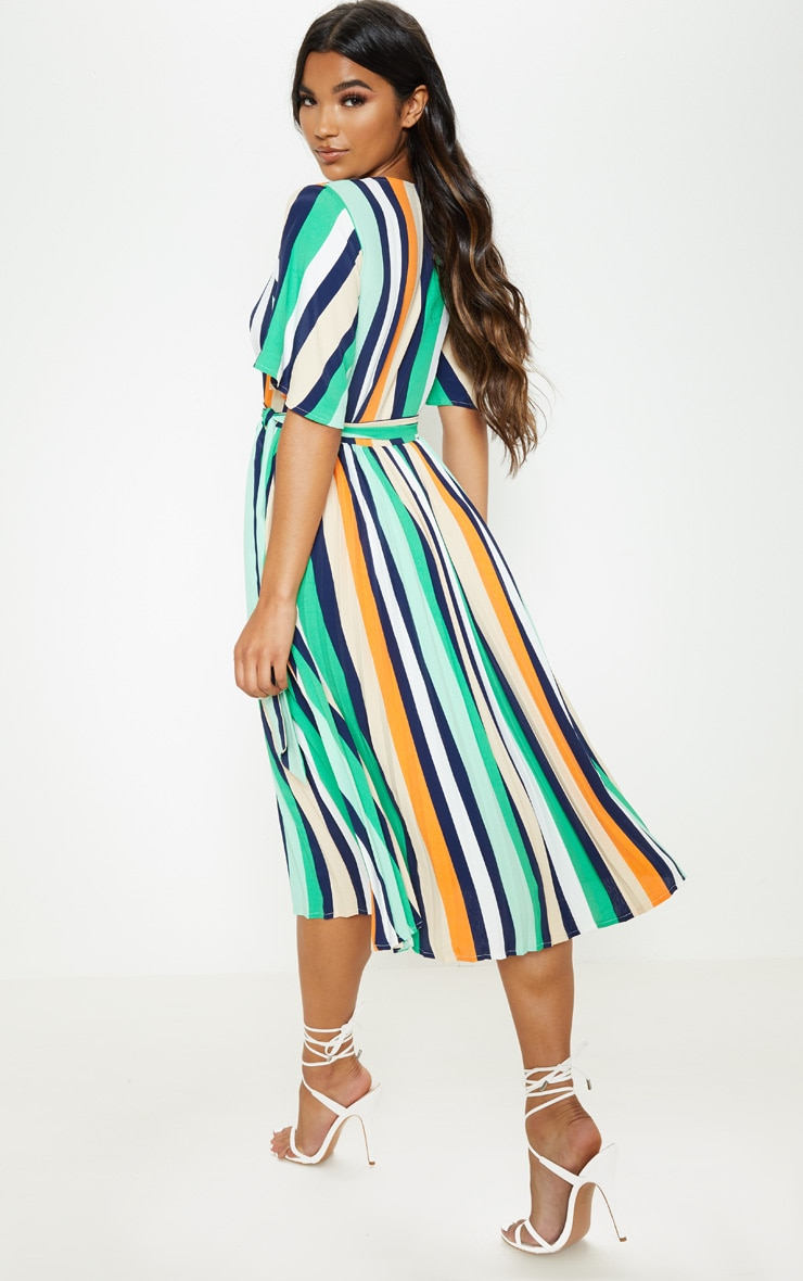 White Stripe Print Pleat Midi Dress 2