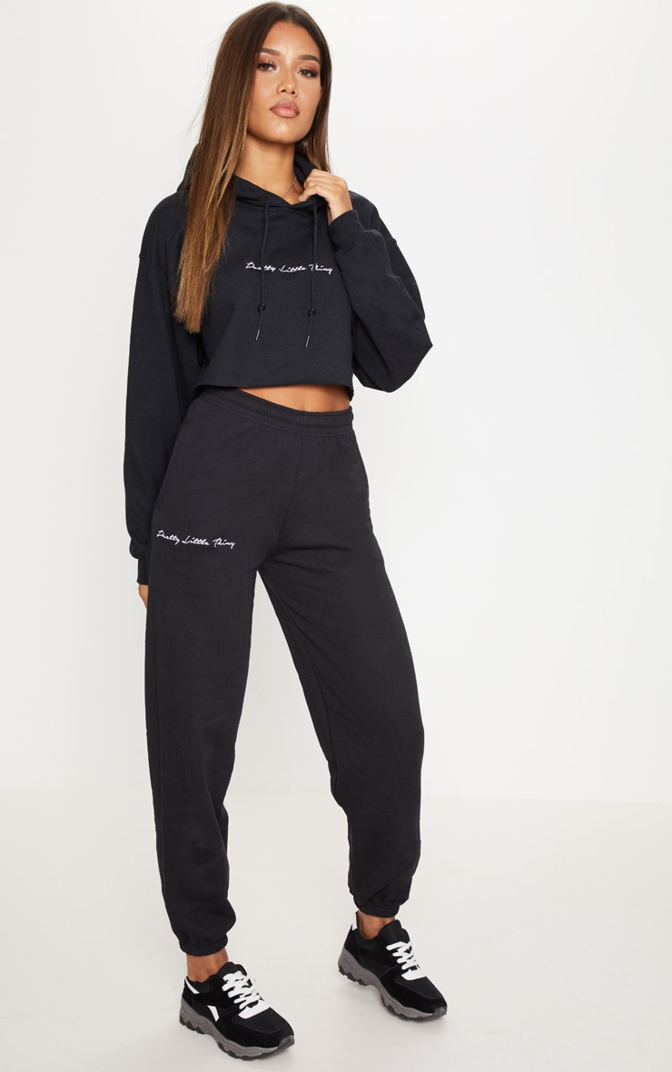 PRETTYLITTLETHING Black Embroidered Jogger 1