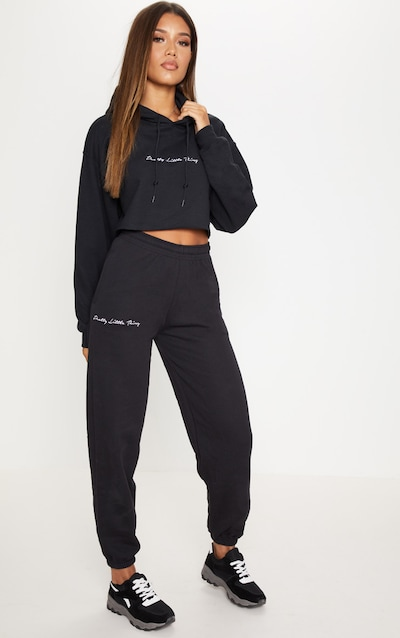 1ba19e7fd455cd PRETTYLITTLETHING Black Embroidered Jogger