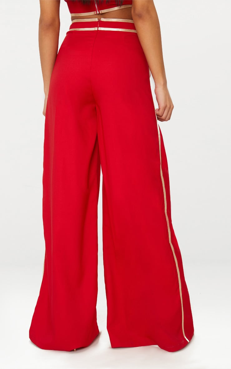Red Contrast Binding Split Front Wide Leg Trouser 4