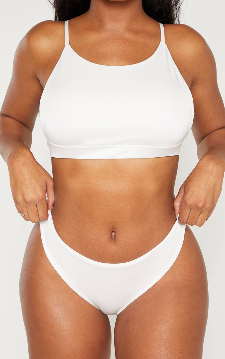Shape White High Rise Ruched Bum Bikini Bottom 5
