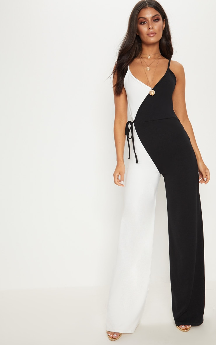 Monochrome Wrap Jumpsuit 1