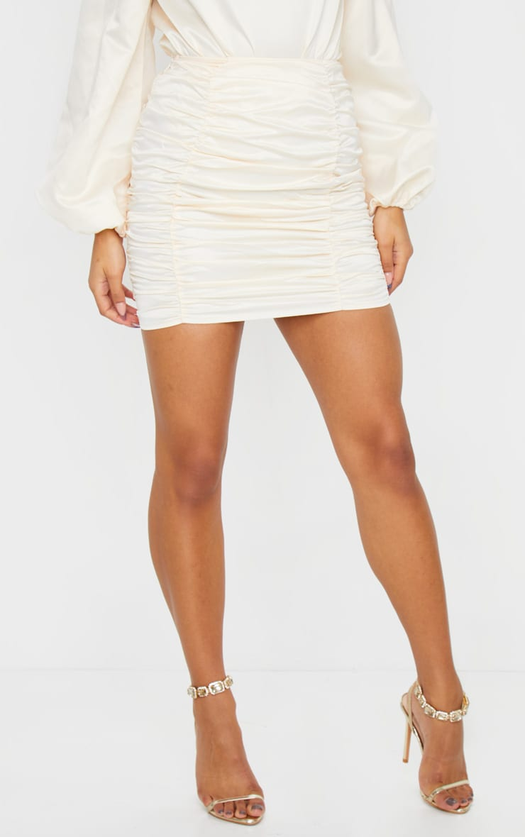 Cream Ruched Panel Mini Skirt 3