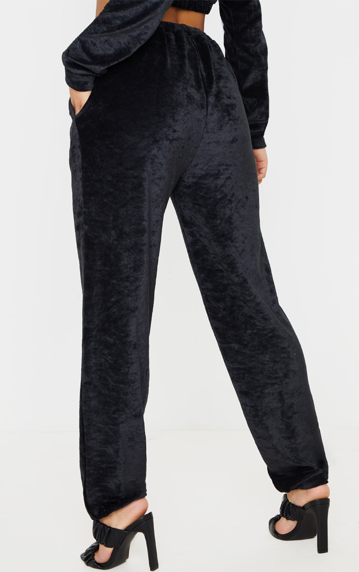 Black Contrast Velour Stripe Jogger 4