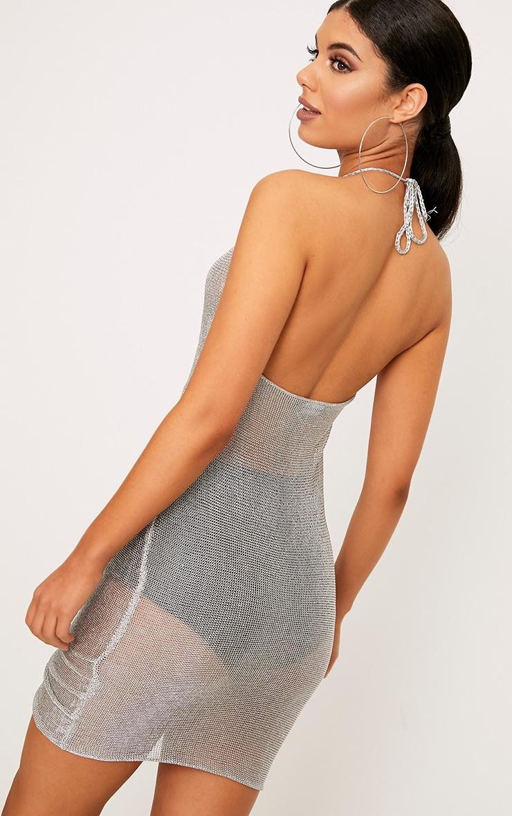 Makina Silver Ruched  Metallic Knit Mini Dress 2
