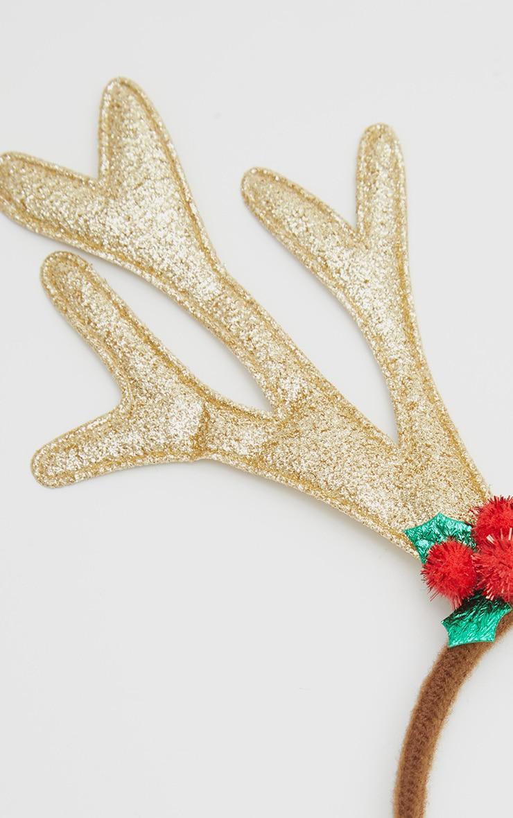 Gold Glitter Christmas Antler Headband 3