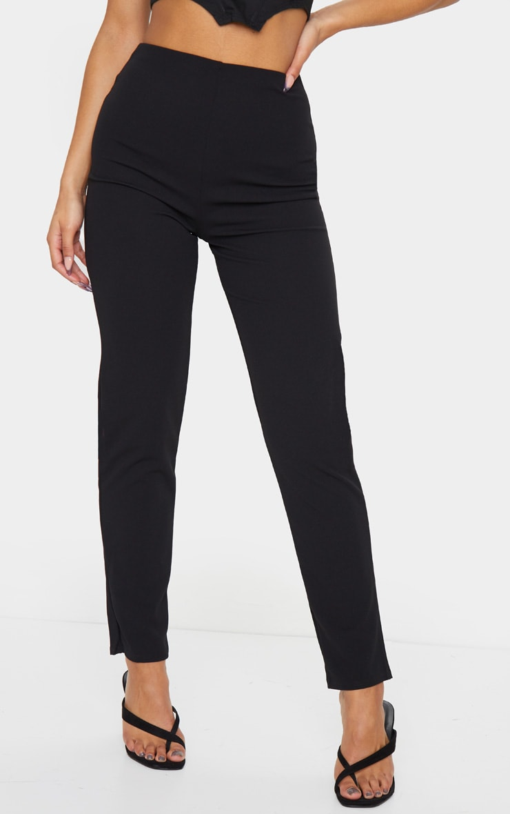 Black Slim Leg Crepe Trousers 2