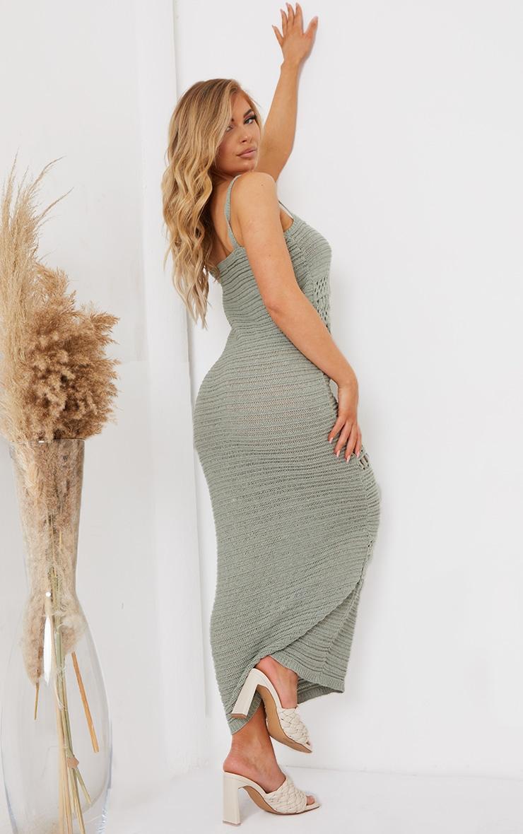 Sage Green Crochet Lace Up Midaxi Dress 2