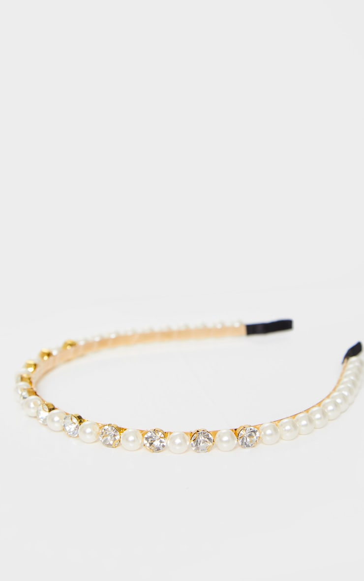 Gold Diamante White Pearls Headband 2