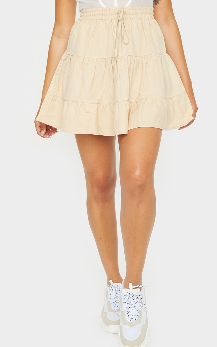 Stone Cotton Drawstring Tiered Skater Skirt 2