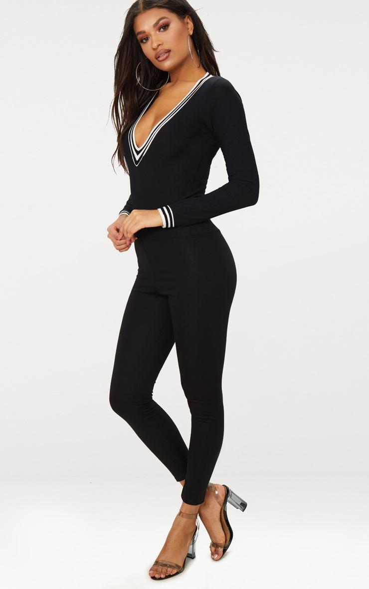 Black Long Sleeve Sport Trim V Neck Thong Bodysuit  3
