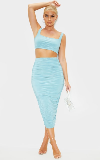 Dusty Turquoise Slinky Second Skin Ruched Midi Skirt