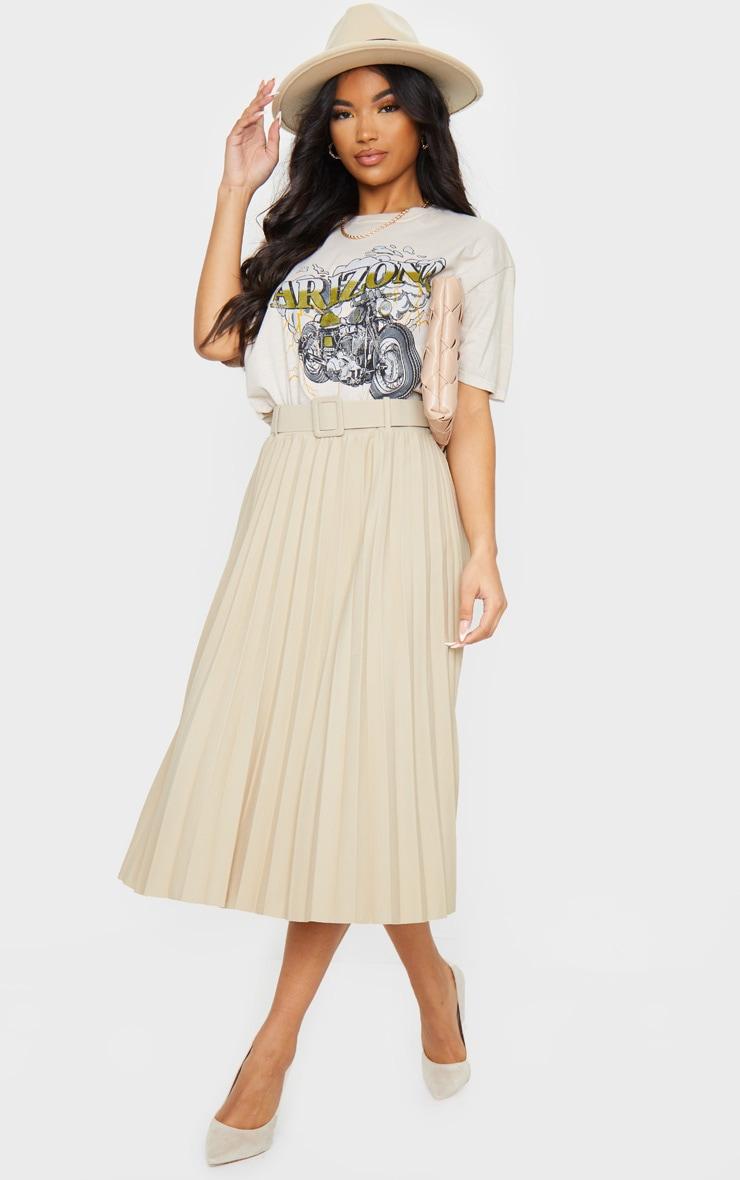 Stone Pleated Belted Midi Skirt 1