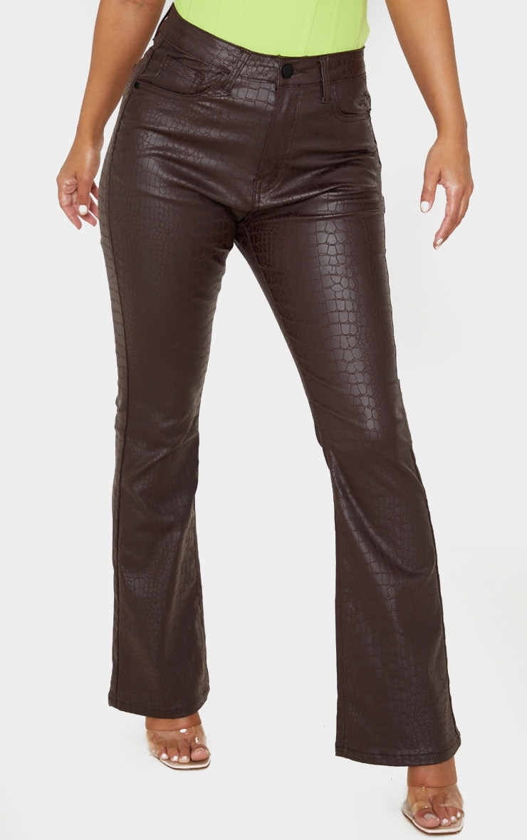 Petite Chocolate Brown Coated Denim Croc Flared Jean 2