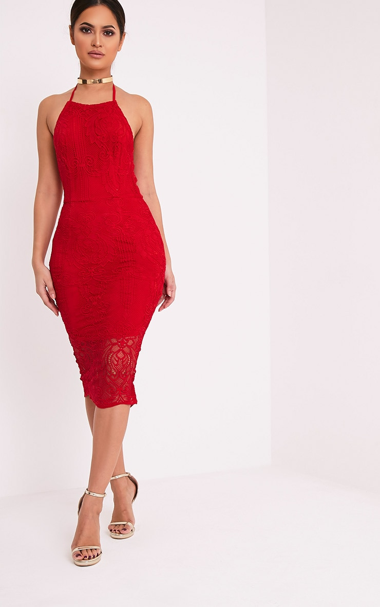 Kayana Red Lace Halterneck Midi Dress 1