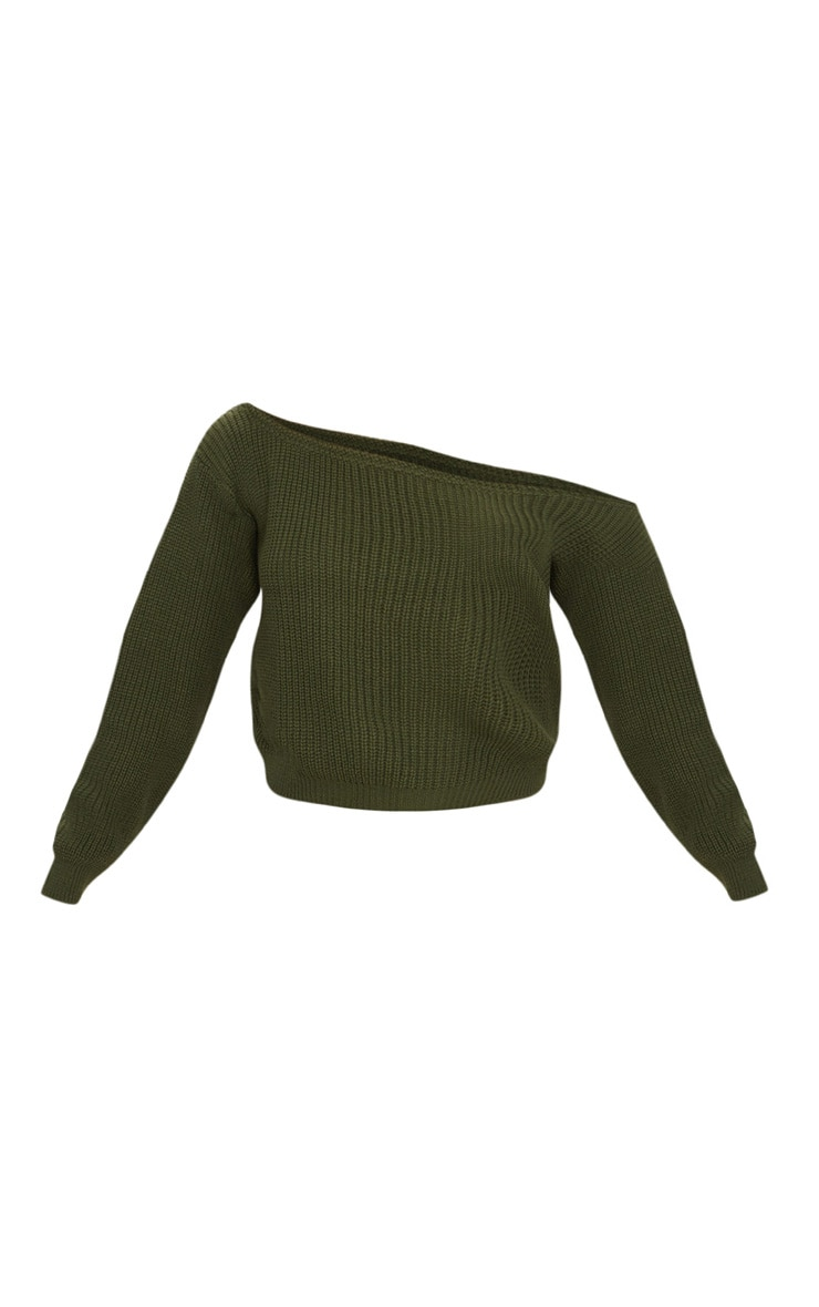 Khaki Off The Shoulder Crop Sweater 3