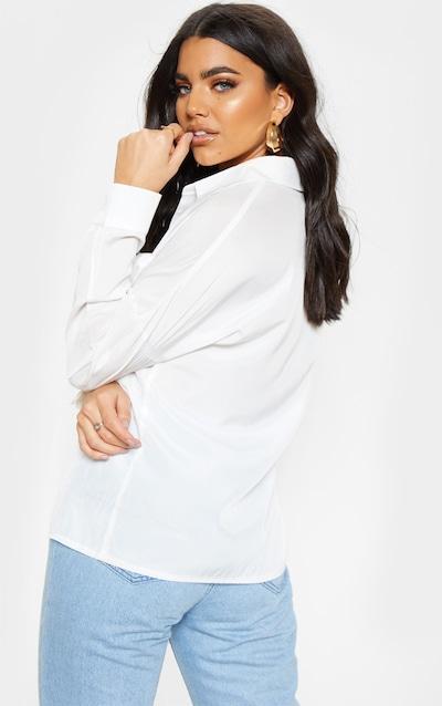 White Cotton Pocket Front Oversized Shirt
