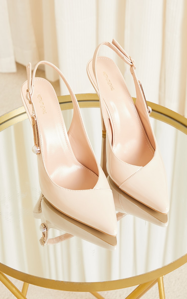 Nude Slingback Paperclip Trim Court Shoes 4