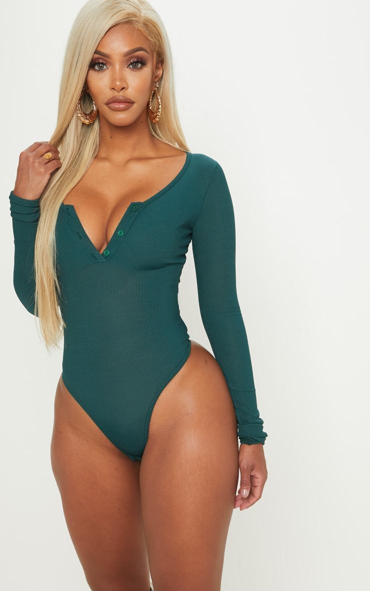Shape Emerald Green Ribbed Long Sleeve Bodysuit 2