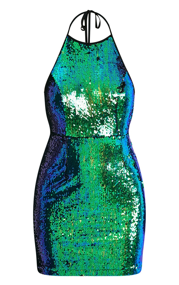 Jeseme Green Sequin Front Bodycon Dress  3