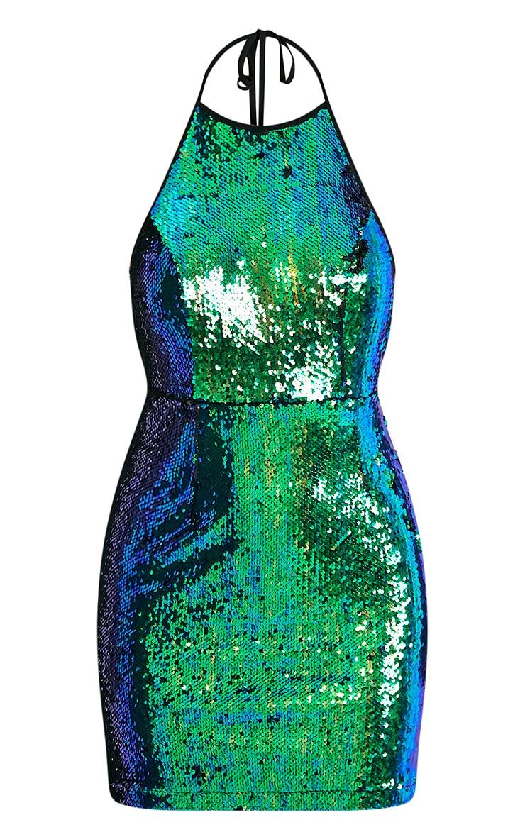 Jeseme Green Sequin Front Bodycon Dress 3