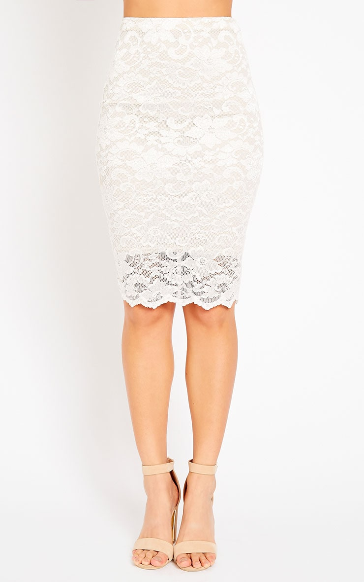 Rez Cream Lace Scallop Edge Midi Skirt 5