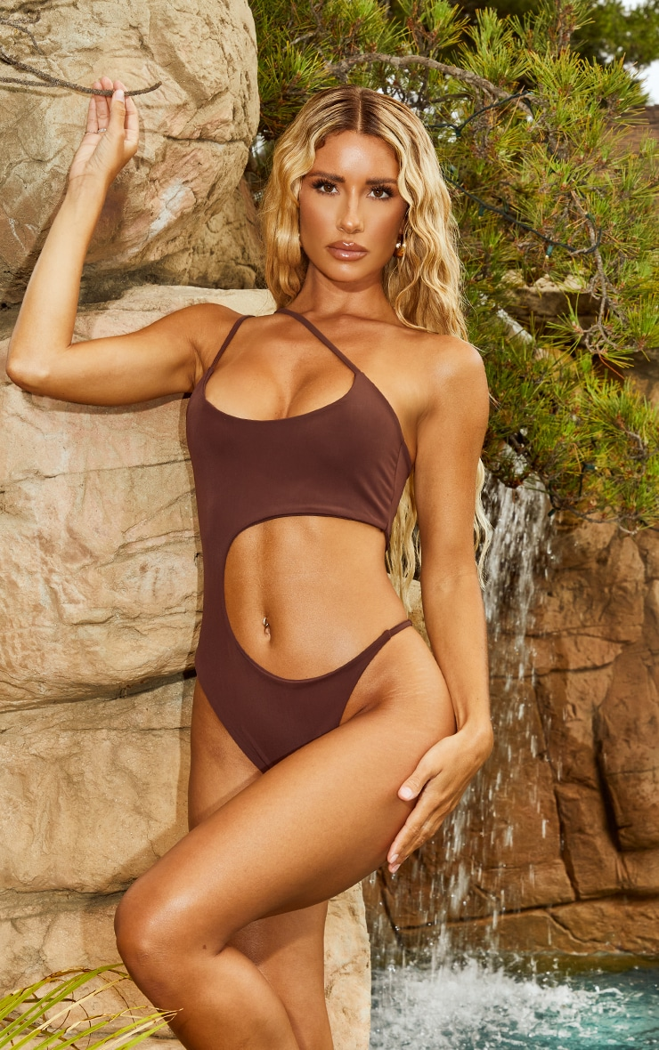 Chocolate Cut Out Swimsuit 1