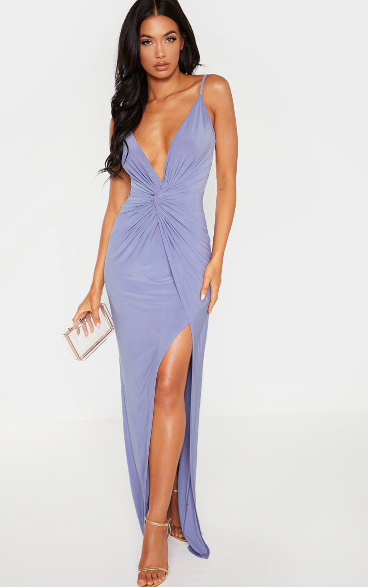 Blue Knot Front Strappy Maxi Dress 1