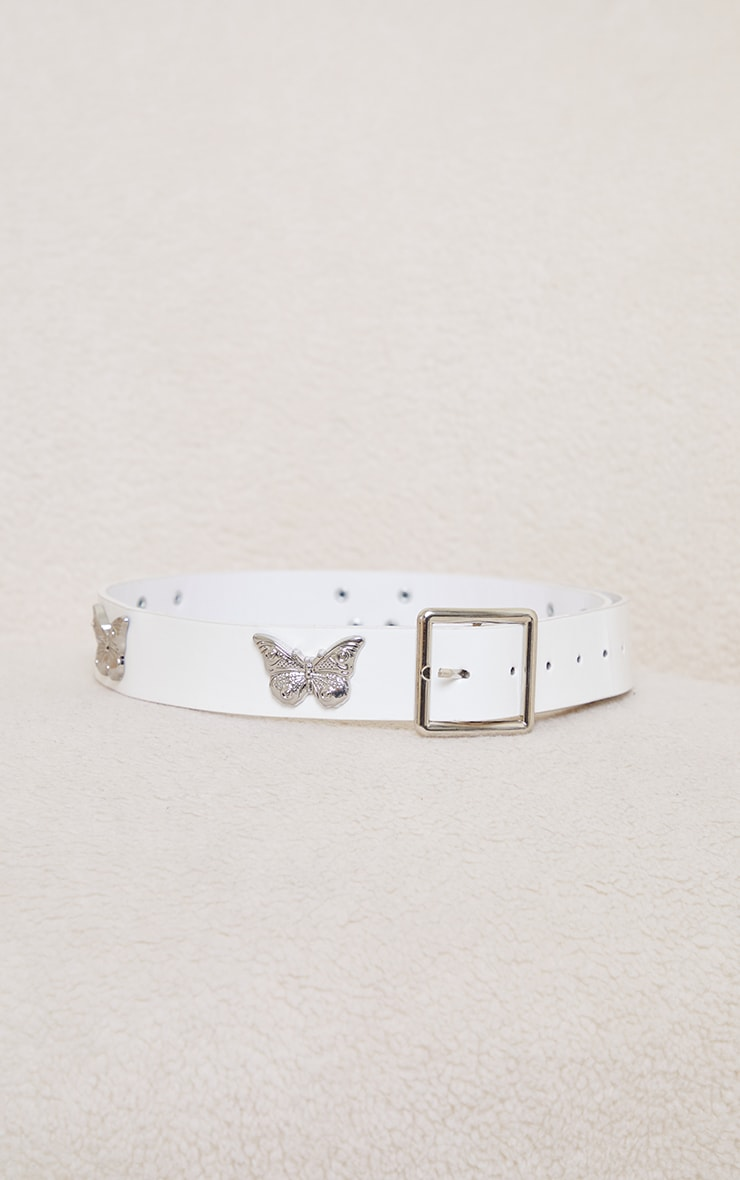 White Pu Silver Multi Butterfly Waist Belt 1