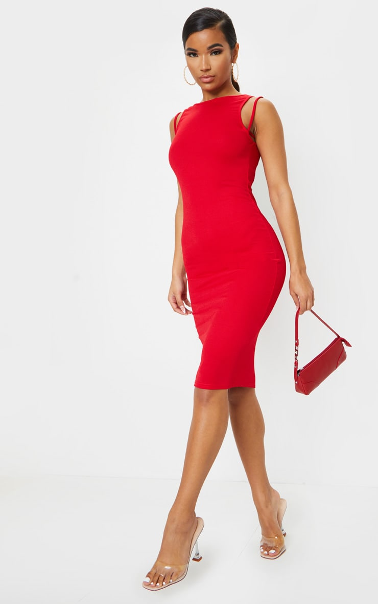Red Sleeveless Strap Cut Out Midi Dress 1