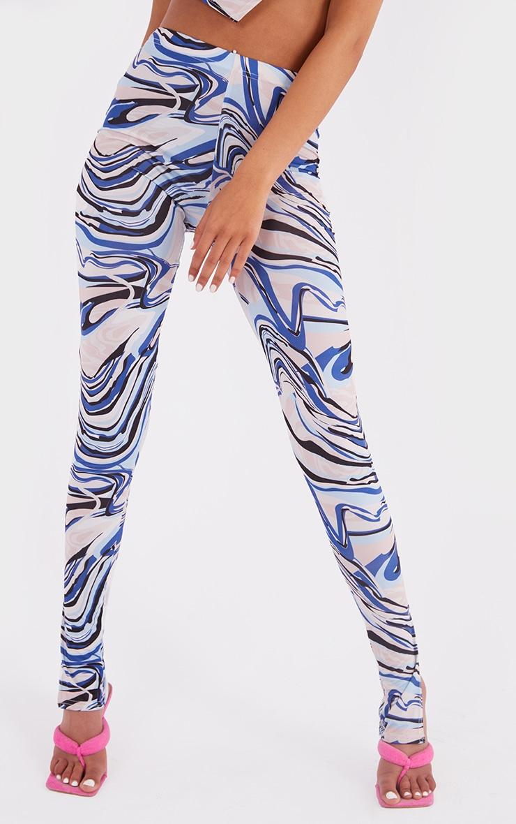 Tall Blue Swirl Print Split Hem Leggings 2