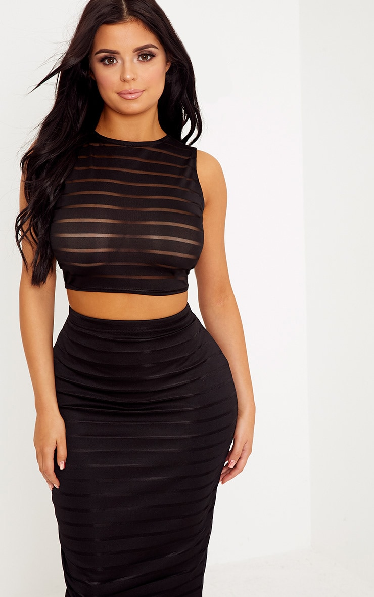 Shape Zariah Black Burnout Stripe Crop Top Co-Ord 1