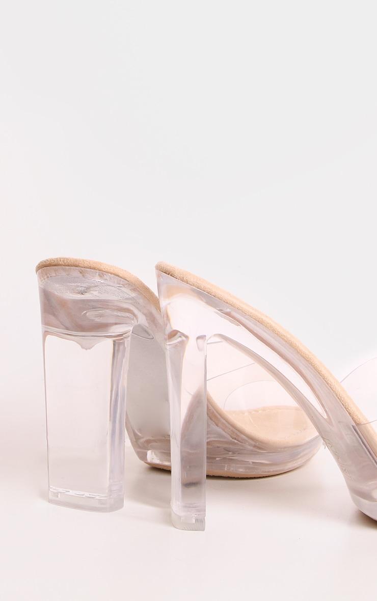 Nude Clear Heel Mules 3
