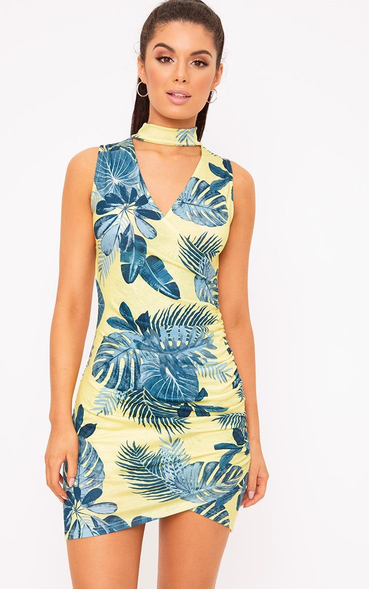 Yellow Tropical Print Choker Detail Ruched Bodycon Dress 1