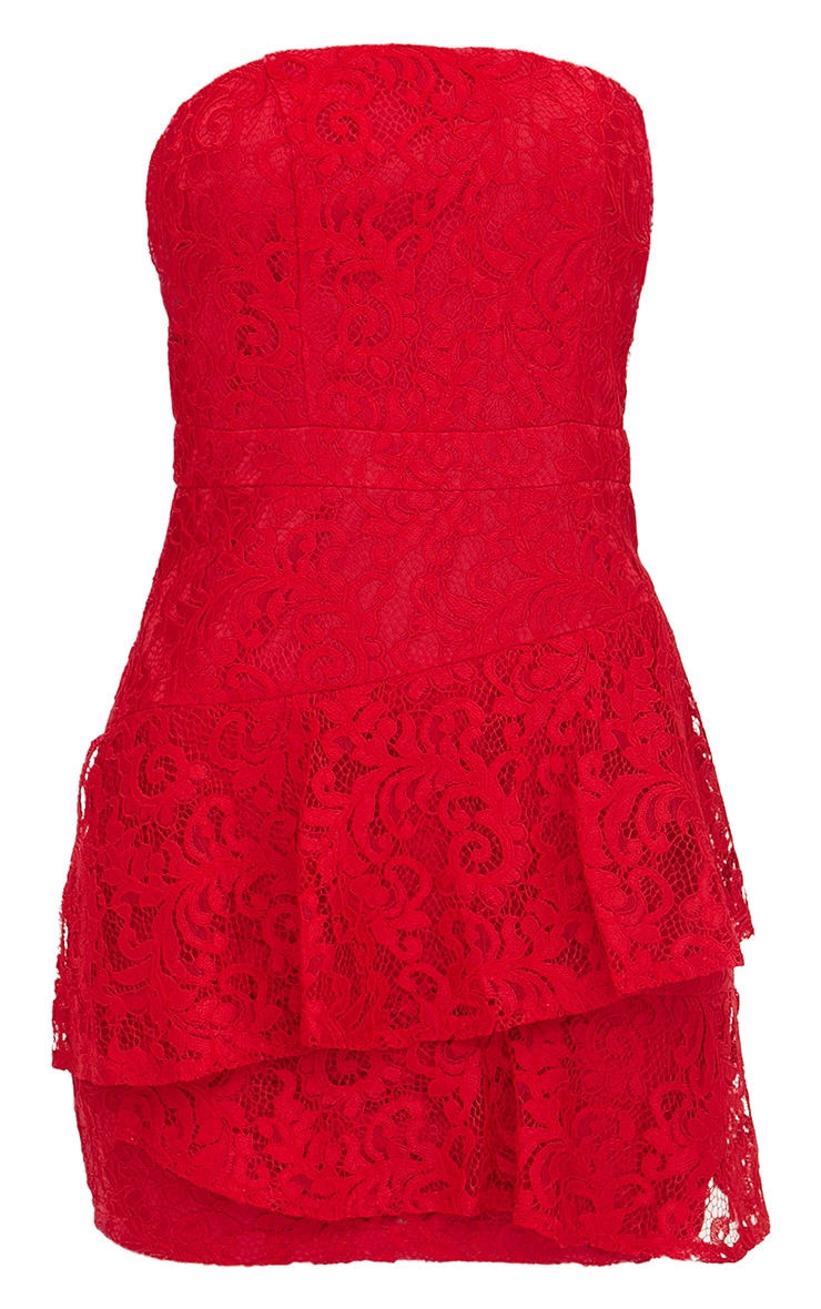 Red Lace Frill Overlay Bandeau Bodycon Dress 3