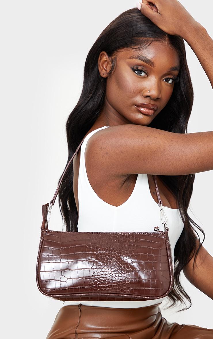 Chocolate Croc Shoulder Bag 1