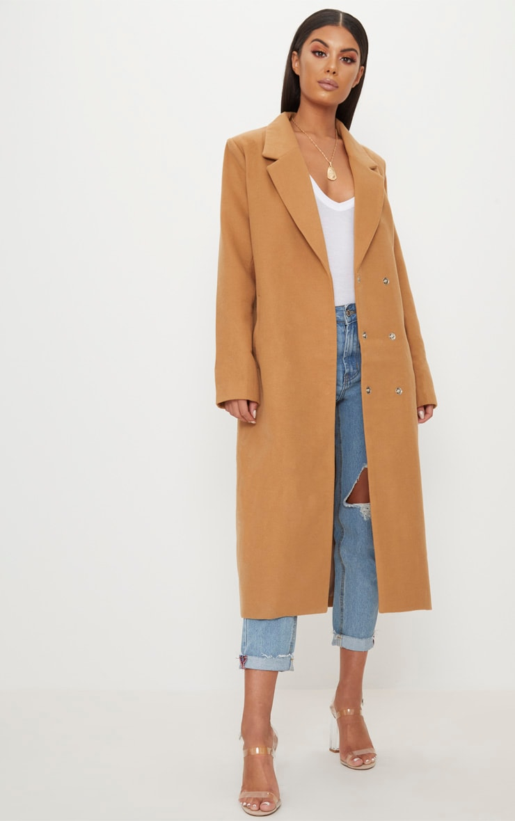 Salana Camel Longline Double Breasted Coat 1