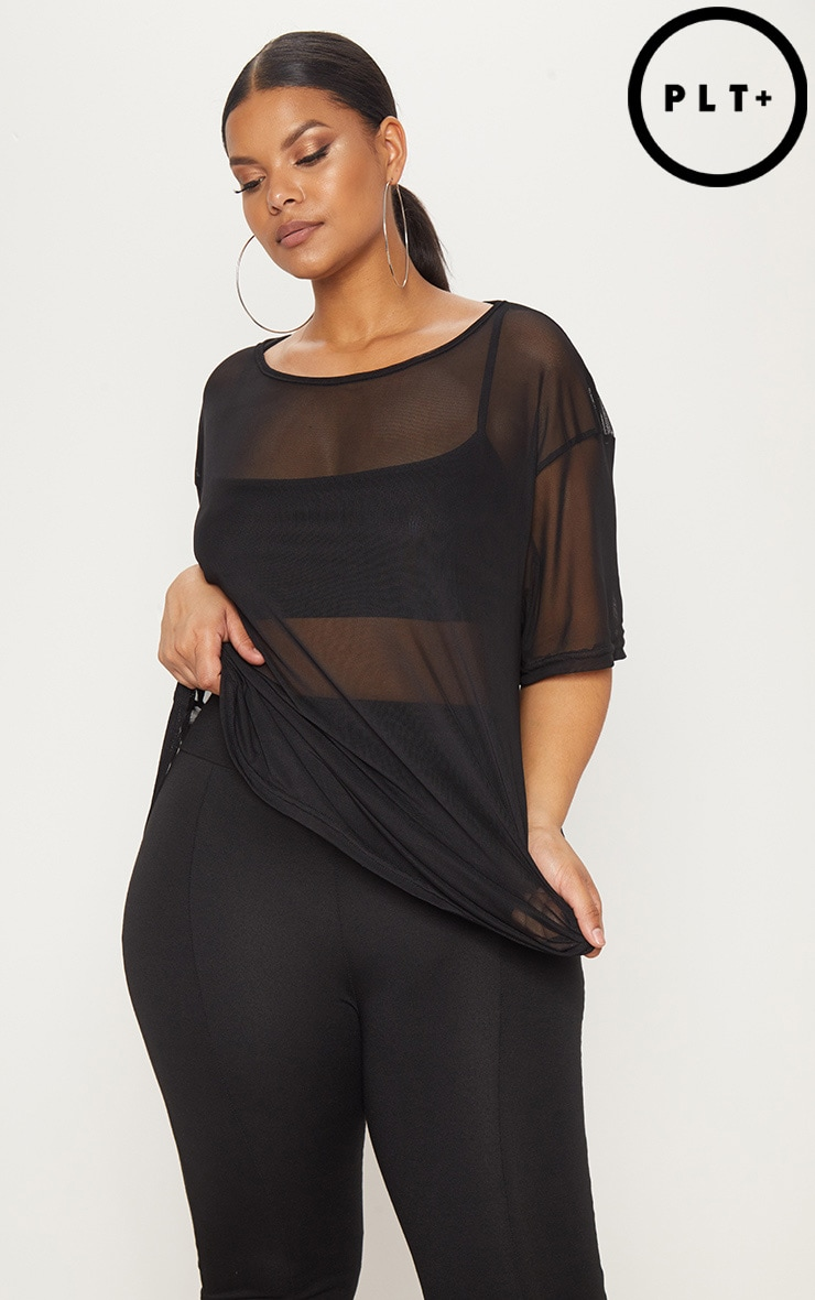 Plus Black Sheer Mesh Oversized T-Shirt