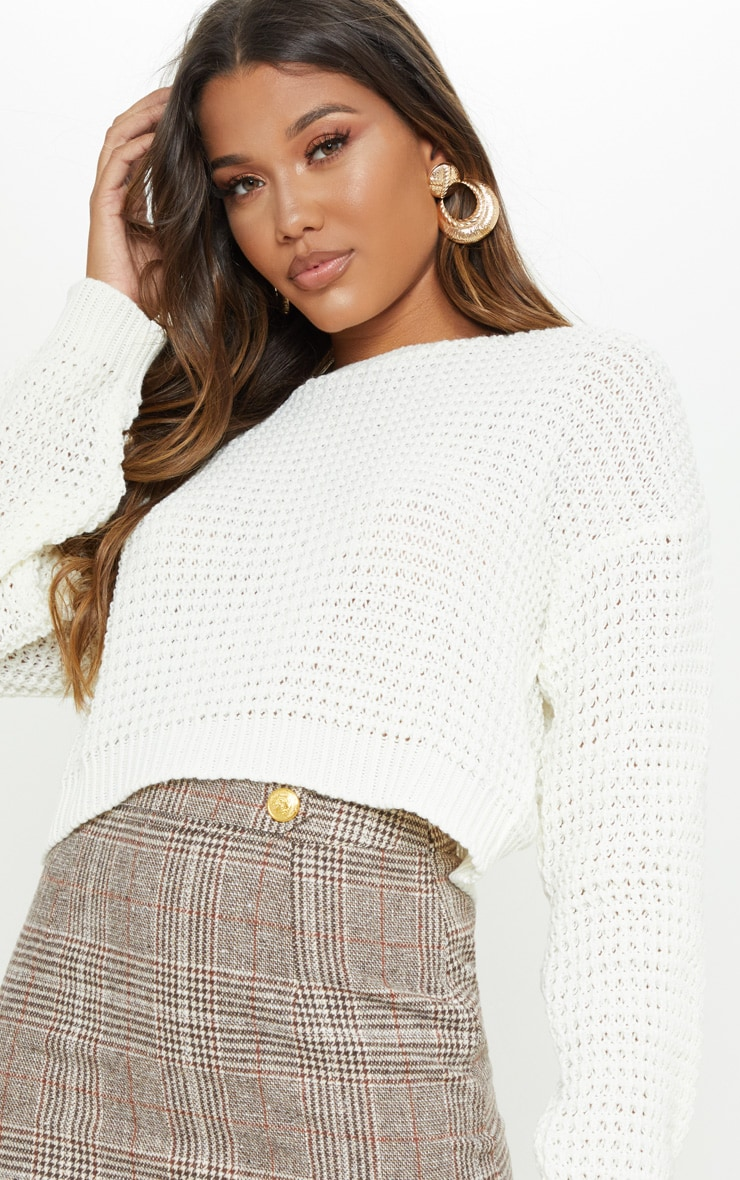 Cream Fisherman Knitted Cropped Jumper 5