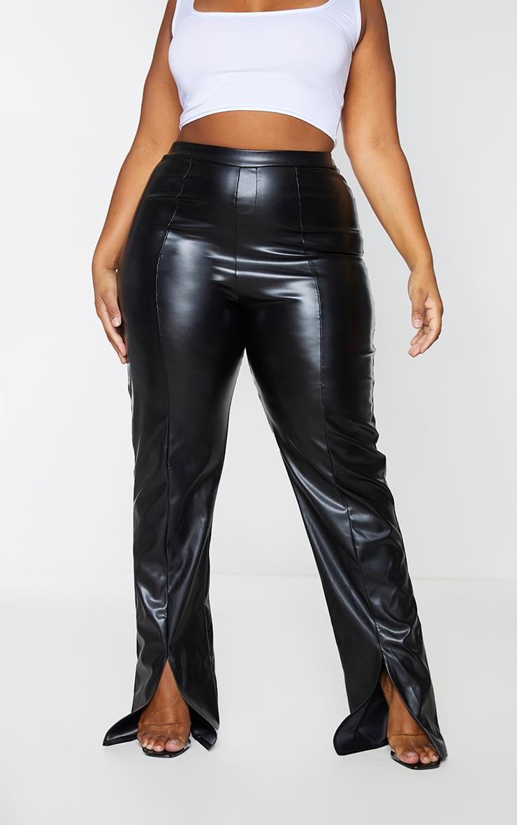 Plus Black Faux Leather Seam Detail Split Hem Pants 2