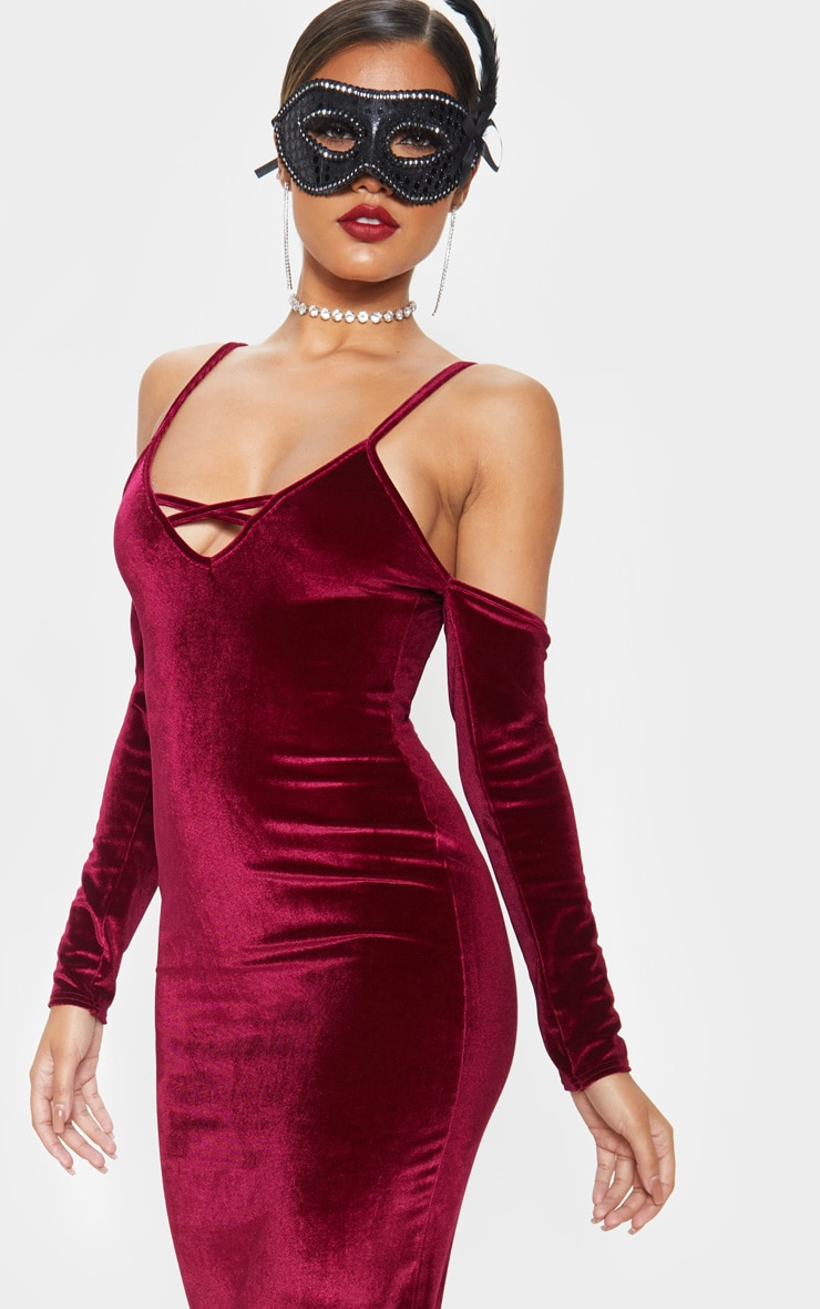 Burgundy Metallic Velvet Bardot Maxi Dress 5